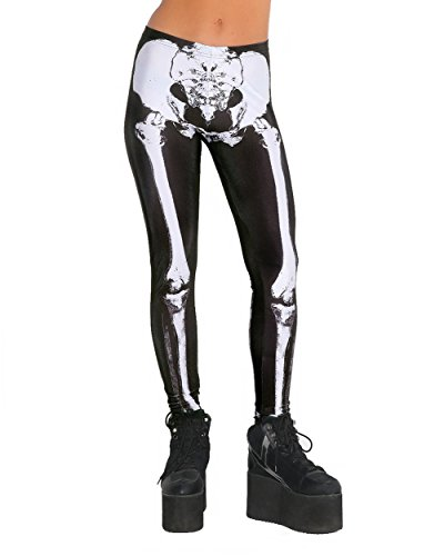 Winter Wonderland Costume Ideas For Men (iHeartRaves Skeleton Bone Costume Leggings Tights Yoga Pants (Large))
