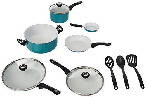 Farberware PURECOOK Ceramic Nonstick Cookware 12-Piece Pots and Pans Cookware Set, Aqua