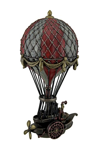 Veronese Design Hand Painted Steampunk Hot Air Balloon Fantasy Statue