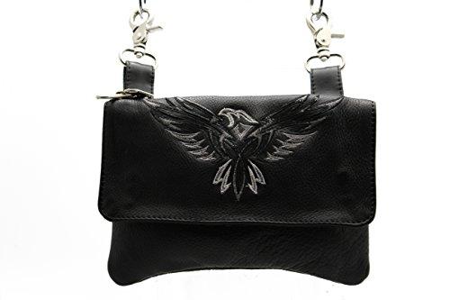 Women Biker Leather Hip Loop Hanging Bag Black Eagles Clip Pouch, Motorcycle Bag & Fanny Pack
