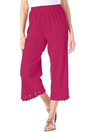 Roamans Women's Plus Size Crinkle Knit Gauze Capri Bright Cherry,S