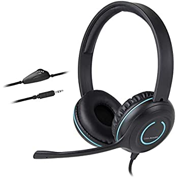eec3bd01845 Cyber Acoustics 3.5mm Stereo Headset with Headphones and Noise Cancelling  Microphone for PCs, Tablets, and Cell Phones in The Office, Classroom or  Home ...