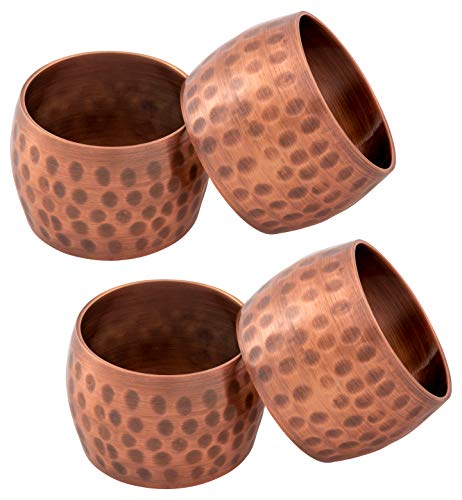 KAF Home Metal Napkin Rings | Set of 4 Napkin Rings for Dinner Parties and Everyday Dinner Table Use - Classic Curved Napkin Rings with Silver Beads (Domed Galvanized Copper) ()