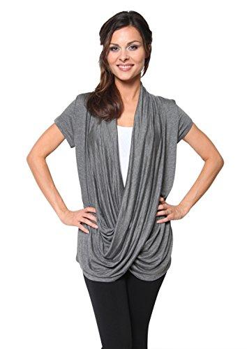 Free to Live Women's Lightweight Short Sleeve Criss Cross Pullover Nursing Top (Medium, Charcoal)