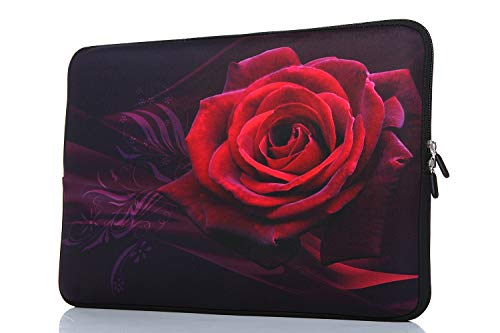 15-15.6 Inch Laptop Sleeve Case Handle Bag Neoprene Cover For Macbook Pro/Macbook Air/Hp/Dell/Lenovo/Thinkpad/Asus/Acer, Rose (Red) ()