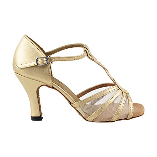 """50 Shades Of Gold Tanzschuhe Sammlung, Komfort Abendkleid Hochzeit Pumps: Ballroom Schuhe für Latin, Tango, Salsa, Swing, Kunst von Party Party (2,5 """"3"""" & 3,5 """"Heels) 1692- Gold Leder & Fleisch Mesh"""