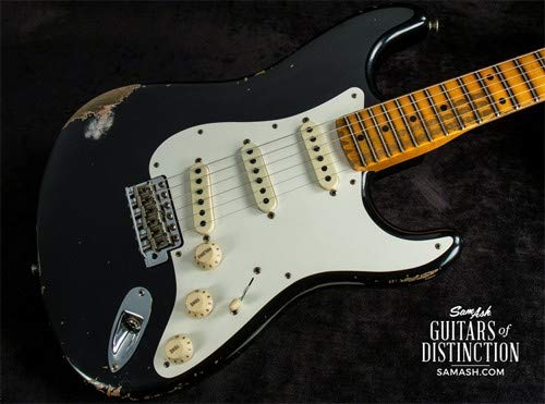 Fender Custom Shop Time Machine 1959 Stratocaster Heavy Relic Electric Guitar Aged Black ()