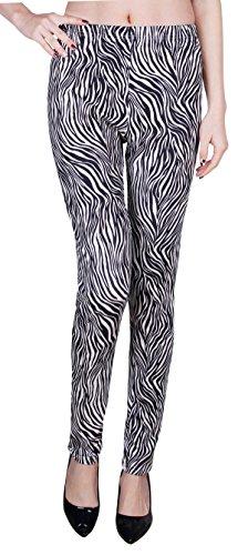 Zebra Dye - IRELIA Womens Winter Soft Printed Fleece Lined Leggings Black Zebra 14(L)-22(XXL)