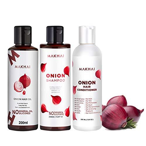 Makhai Naturals Hair Care Onion Shampoo(200ml), Onion Hair Conditioner(200ml), Onion Hair OiL(200ml) for hair Growth and…