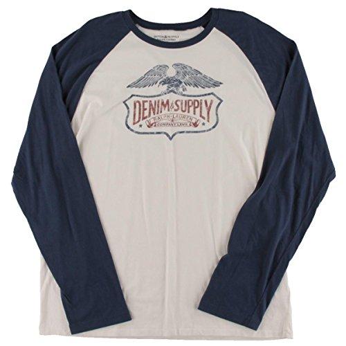 Polo Ralph Lauren Denim & Supply Ralph Lauren Mens Graphic Long Sleeves Baseball Shirt White - Polo Buy Lauren Ralph