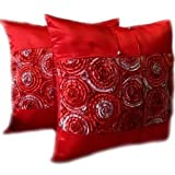 A pair of Beautiful Thai Silk Pillow Covers for decorate Living Room, Bed Room, Sofa, Car / Size 16 X 16 Inches Code 3038