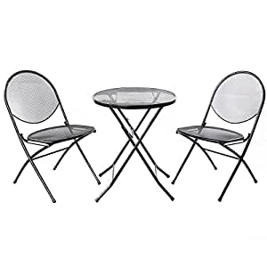 Folding Steel Mesh Outdoor Table Chair Garden Patio Furniture Set 3PCS