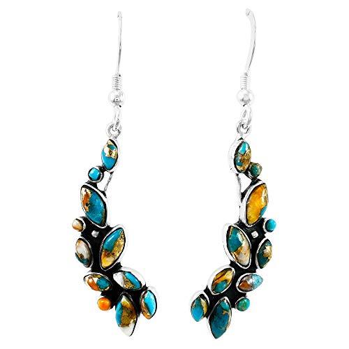 Dangle Earrings in Sterling Silver Genuine Turquoise & Gemstones (1.5