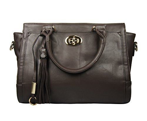 Fraless Collection Metal Buckle Front Pendant Zipper Closure Briefcase Satchel Handbag Dark Brown