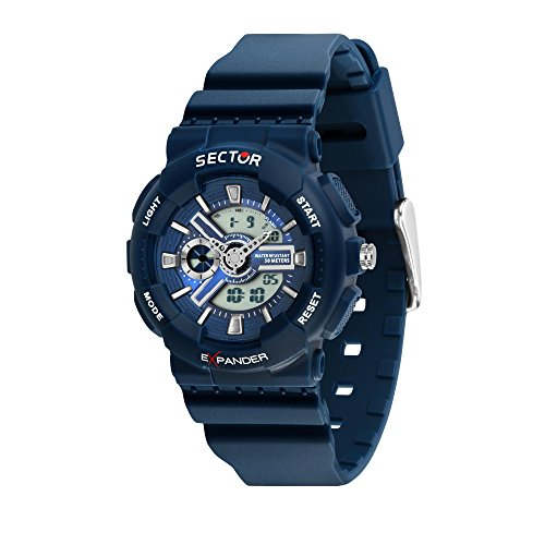 SECTOR Men's Ex-15 Analog-Quartz Sport Watch with Plastic Strap, Blue, 18 (Model: R3251515001