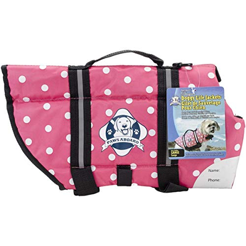 Polka Dot Life Jacket - Paws Aboard Doggy Life Jacket Large Pink Polka Dot