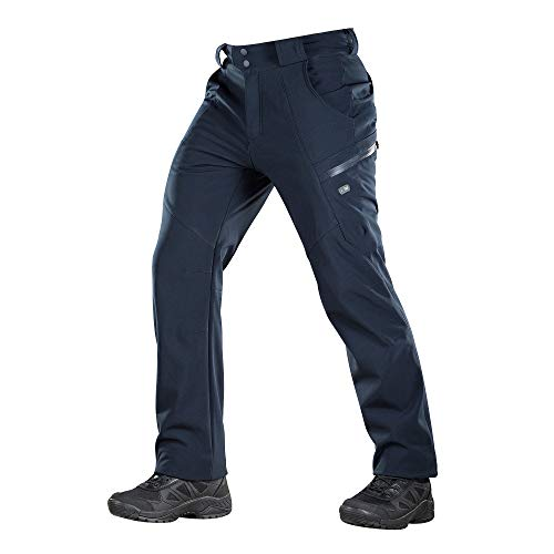 M-Tac Winter Tactical Pants Soft Shell Insulated Fleece Lined Cargo (Navy Blue, S)