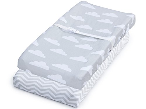 (Changing Pad Cover, 2 Pack Unisex Clouds & Chevron, Fitted Soft Cotton)