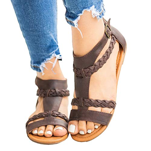 Womens Gladiator Strappy Flat Open Toe Lace Up Criss Cross Strap Ankle Wrap Summer Beach Sandals Brown ()
