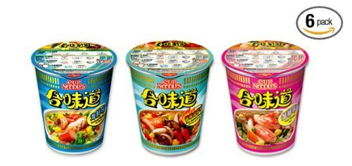 Nissin Seafood 3 Flavor Variety Combo Instant Authentic HK Japanese Ramen Cup Of Noodles Soup (6 Pack) by Nissin
