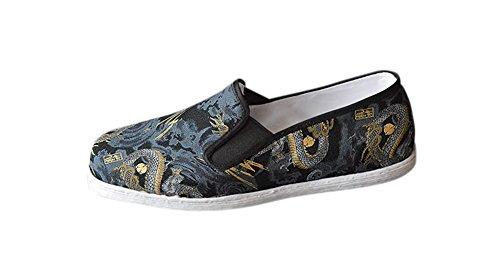 Interact China Ideale Schuhe für Tai Chi Kung Fu mit Handgenähter 8 Lagiger Baumwollsohle #405 Handgenähte Baumwollsohle + Gummiüberzug