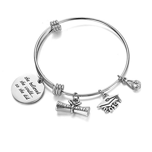 AZORA Graduation Gift Jewelry She Believed She Could So She Did Inspirational Bracelet with Graduate Diploma & Cap Charm Engraved Bangle for Teen Girls Women -
