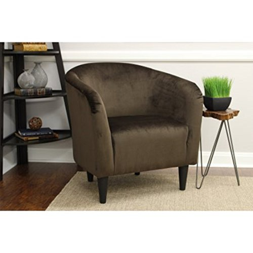 Microfiber Accent Chair - Mainstays Microfiber Tub Accent Chair, Chocolate Brown (Brown)
