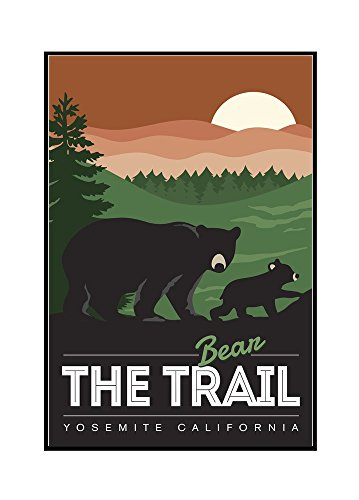 - Yosemite California - Bear the Trail (24x36 Framed Gallery Wrapped Stretched Canvas)