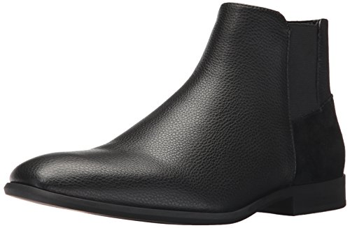 Calvin Klein Men's Larry Tumbled Leather Ankle Bootie, Black, 9.5 M US (Larry Leather)