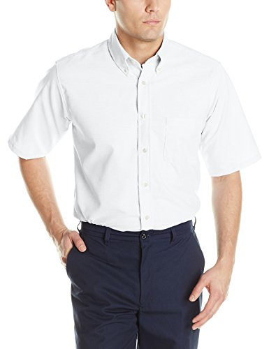Red Kap Men's Executive Oxford Dress Shirt, Short Sleeve, White, X-Large ()