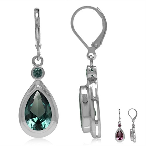 (12x8MM Pear Shape Simulated Color Change Alexandrite 925 Sterling Silver Drop Leverback Earrings)