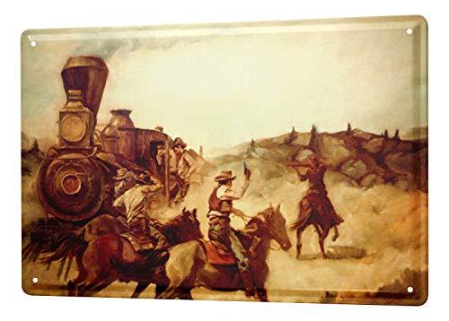 Dark Branches Western Cowboy Wilderness Train Robbery Tin Sign 8