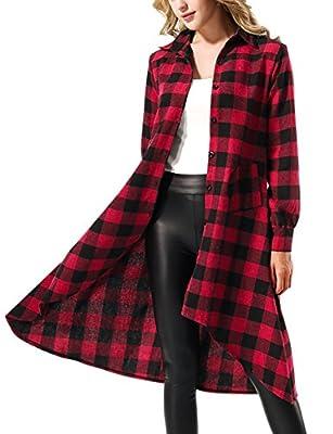 Yidarton Women's Casual Long Sleeve Asymmetrical Plaid Tunic Tops Shirt Dress