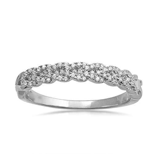 10k White Gold Diamond Braided Band Ring (1/5 cttw, H-I Color, I2-I3 Clarity), Size 7