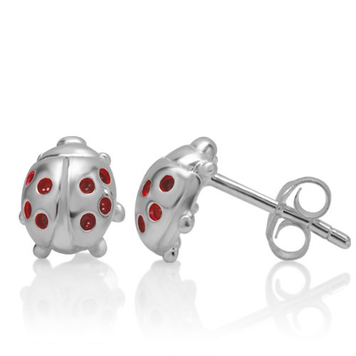 Sterling Silver Ladybug (925 Sterling Silver Red Little Lucky Ladybug 10 mm Post Stud)