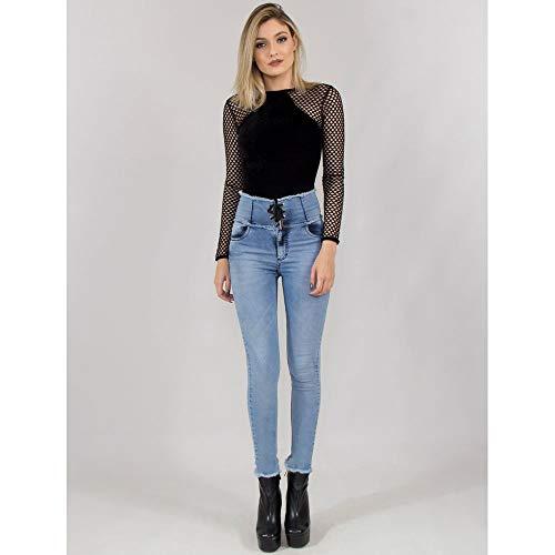 Calça Jeans Com Corpete E Ilhós 40