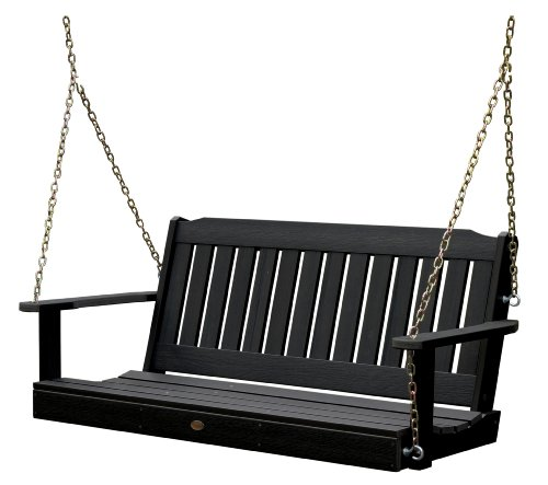 Highwood Lehigh Porch Swing 4 feet, Black (Black Porch Swing)