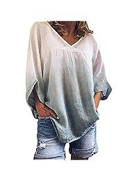 Women's Sweatshirt, DRAGONHOO V-Neck Bat Sleeve Tie Dyeing Plus Size Tee Tank Short Sleeve T Shirt Pullover Sweatshirts