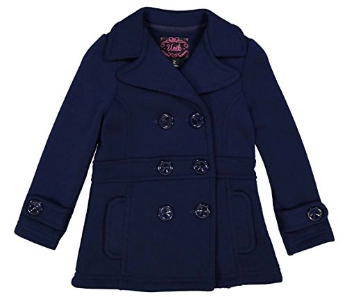 unik Girl Fleece Coat with Buttons, Navy Size Large ()