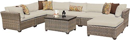 TK Classics MONTEREY-09b 9 Piece Monterey-09B Outdoor Wicker Patio Furniture Set, Beige