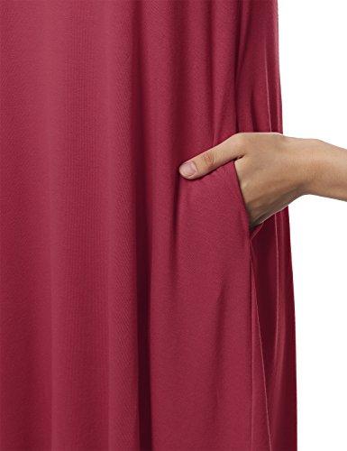 Elastico Vestito Awesome21 Donna Vino Maniche Loose Corte Fit Aawdrs0007 Casuale Tunica qPzETtfWn
