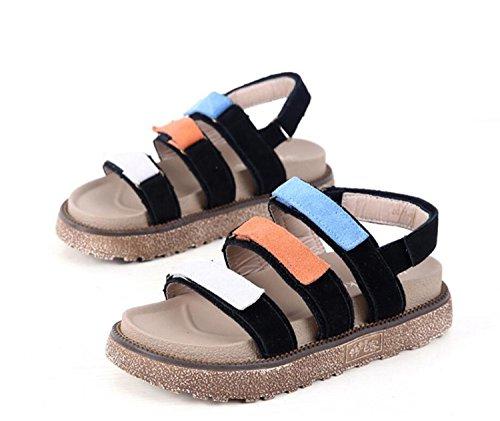 Sandales Grande DANDANJIE Plat Noir Open Slippers Abricot Toe Mixte Couleur Chaussures Cuir Givré Black Taille 43 Décontracté 34 Talons Velcro Femmes Taille ffCrx5qEn