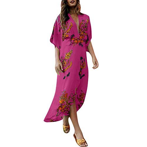Women's Boho Deep V Neck Floral Chiffon Wrap Split Long Maxi Dress Vintage Print Maxi Dress Irregular Hem  LIM&Shop Hot ()
