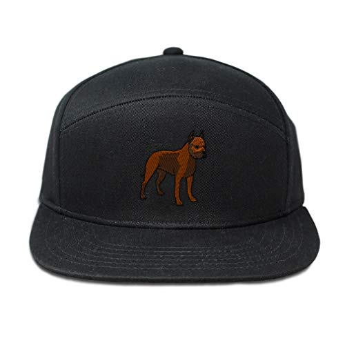 (Snapback Hats for Men & Women Pit Bull Embroidery Cotton Flat Bill Hybrid Baseball Cap Snapback Black Design Only)
