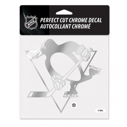 WinCraft NHL Pittsburgh Penguins Chrome Perfect Cut Decal, 6 x 6, Black
