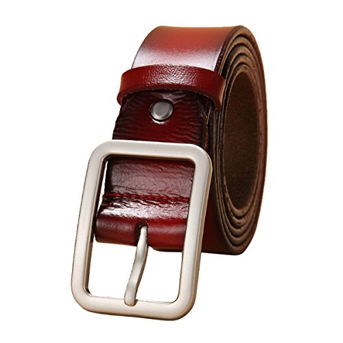 E-Clover Leisure Leather Rectangle Silver Buckle Jean Belts for Women (Wine)