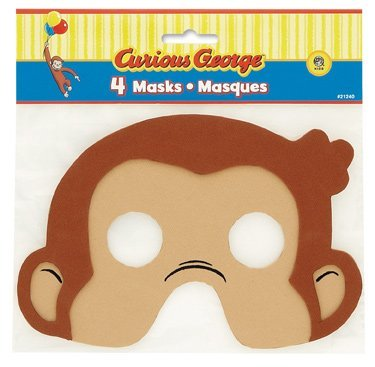 Curious George Masks - Curious George Foam Masks - 4 Count