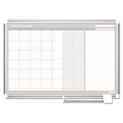 4 Month Planner, 48x36, White/Silver, Sold as 1 Each