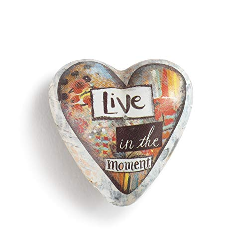 DEMDACO Live in The Moment Floral Red 2 x 2 Resin Stone Art Heart Token Figurine ()