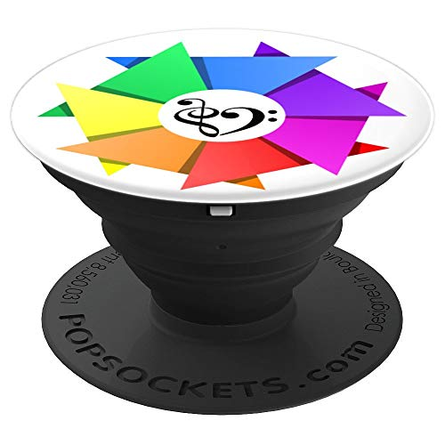 Treble Clef + Bass Clef Musical Heart Rainbow Pinwheel Mandala Bassist - PopSockets Grip and Stand for Phones and Tablets